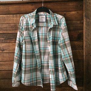 Sonoma everyday plaid button down shirt - size L